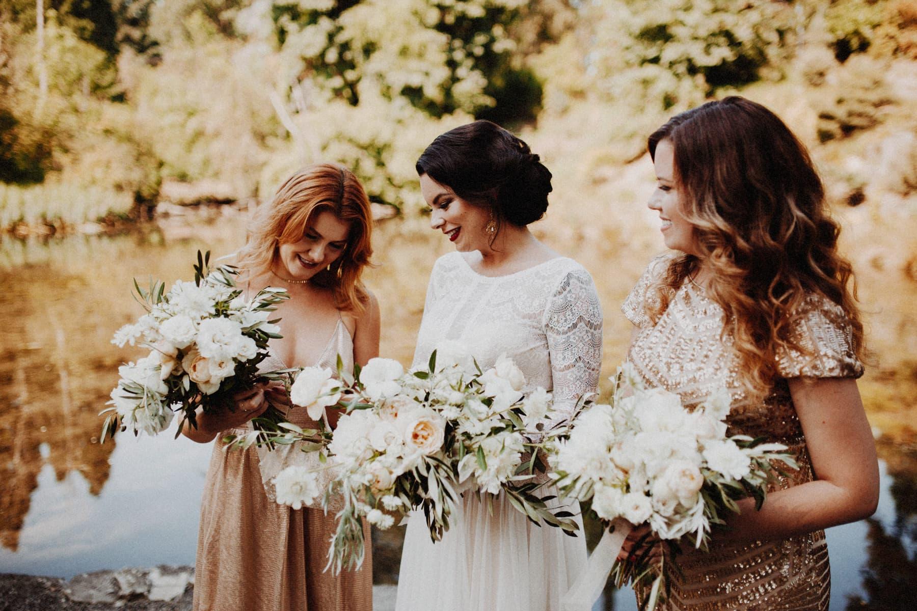 bridesmaids wearing gold