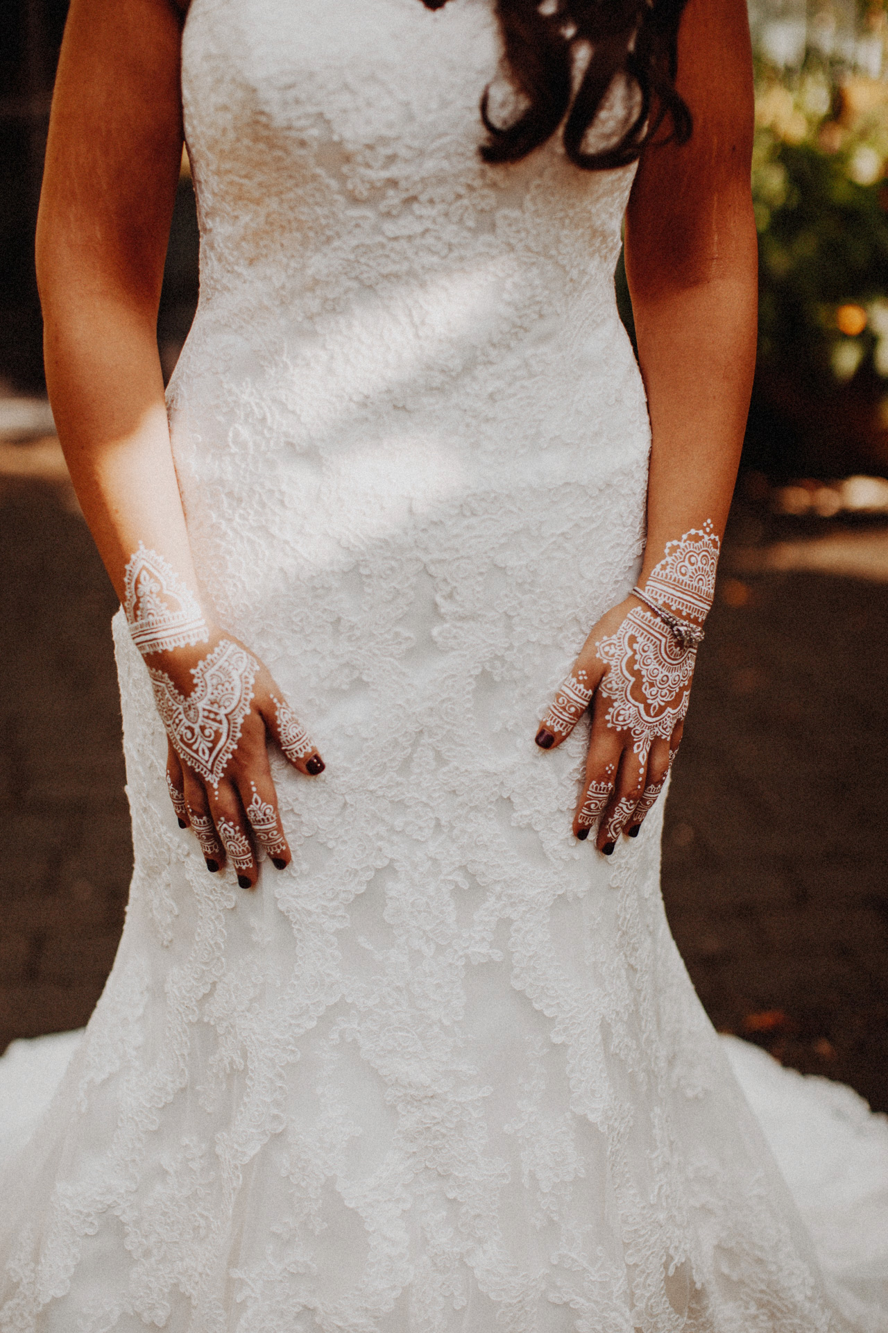 a bride with her hena