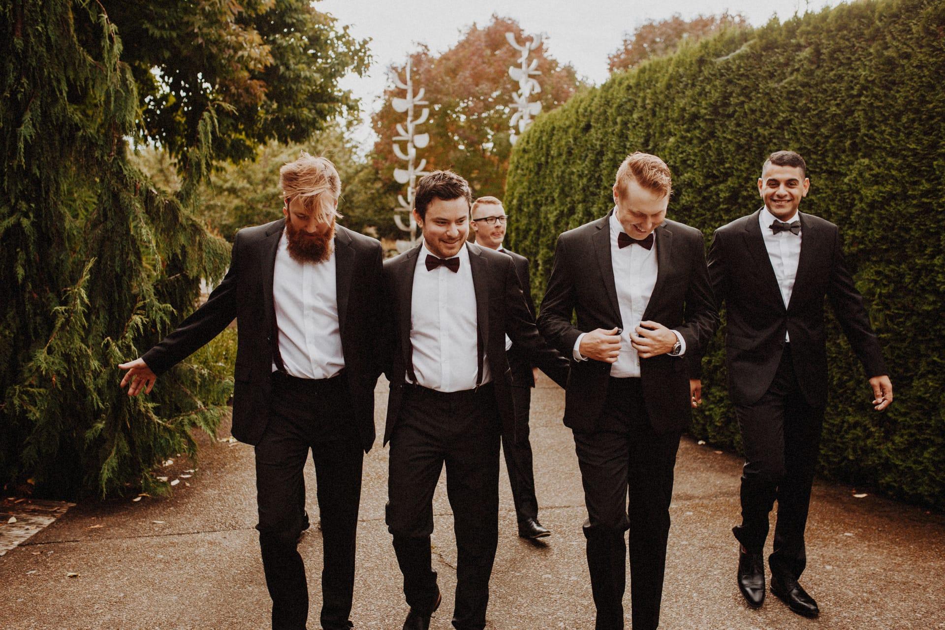The groomsmen at the Oregon Garden Resort