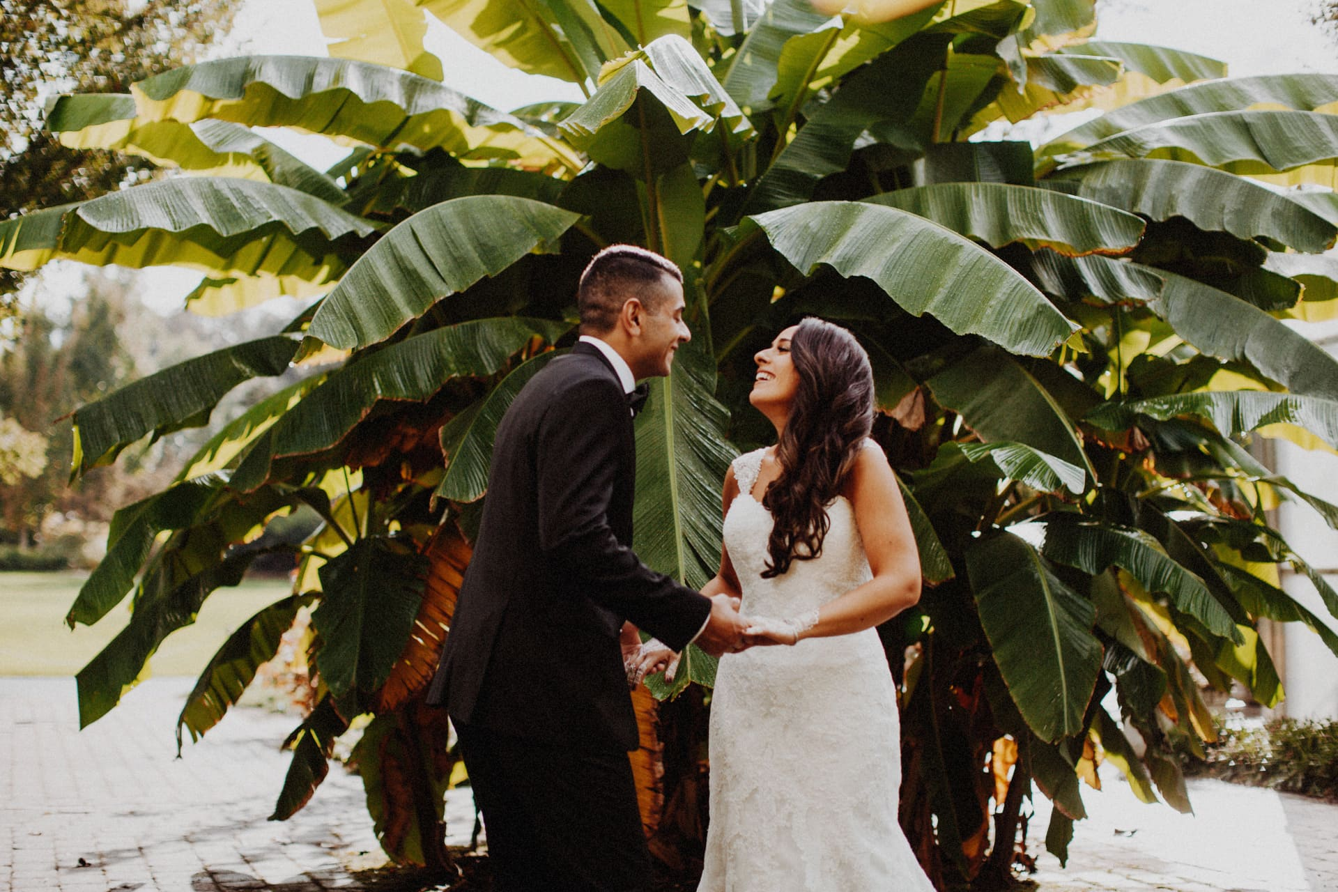 the bride and groom's first look at the oregon garden resort wedding