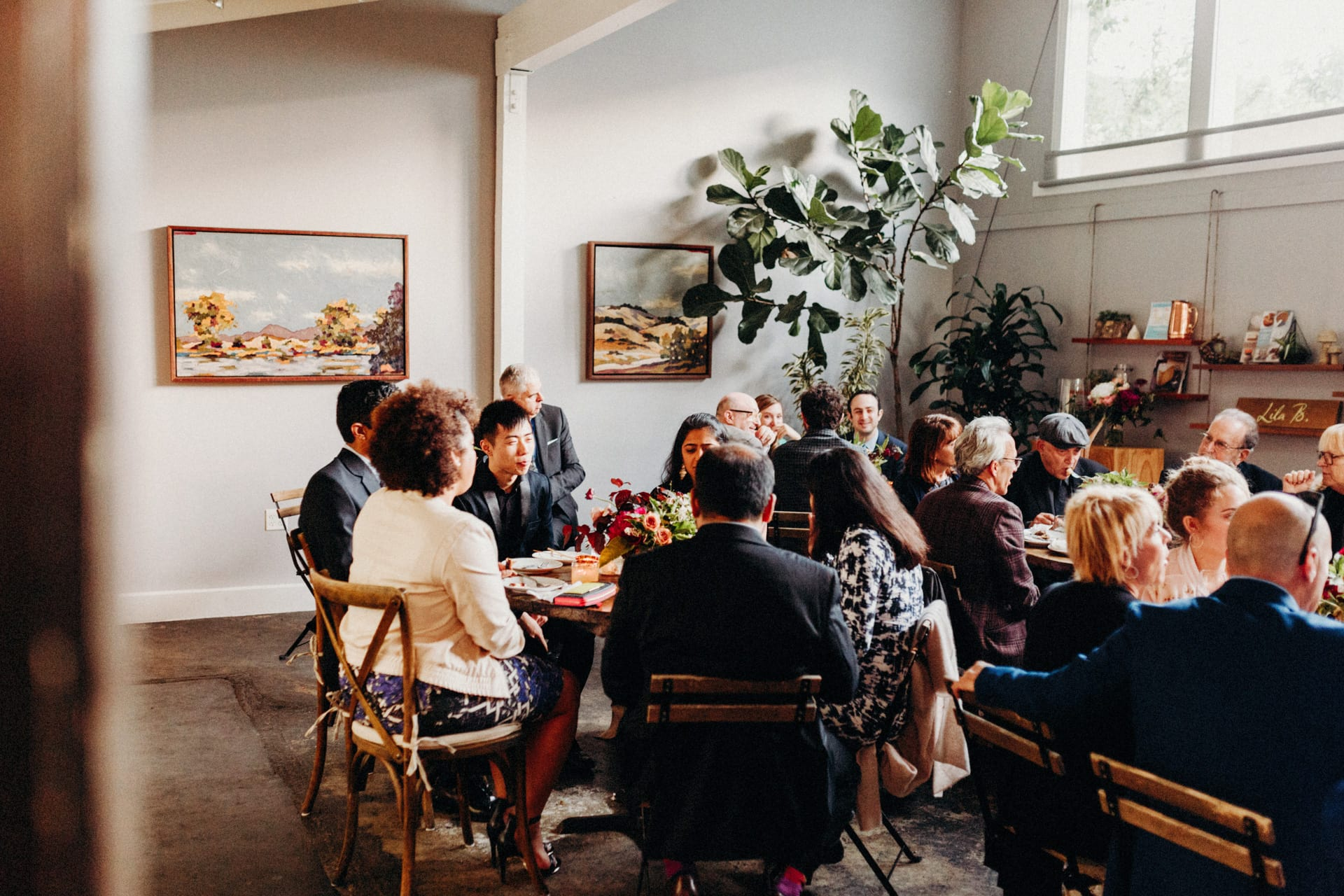 a few guests are eating dinner at the stable cafe in san francisco