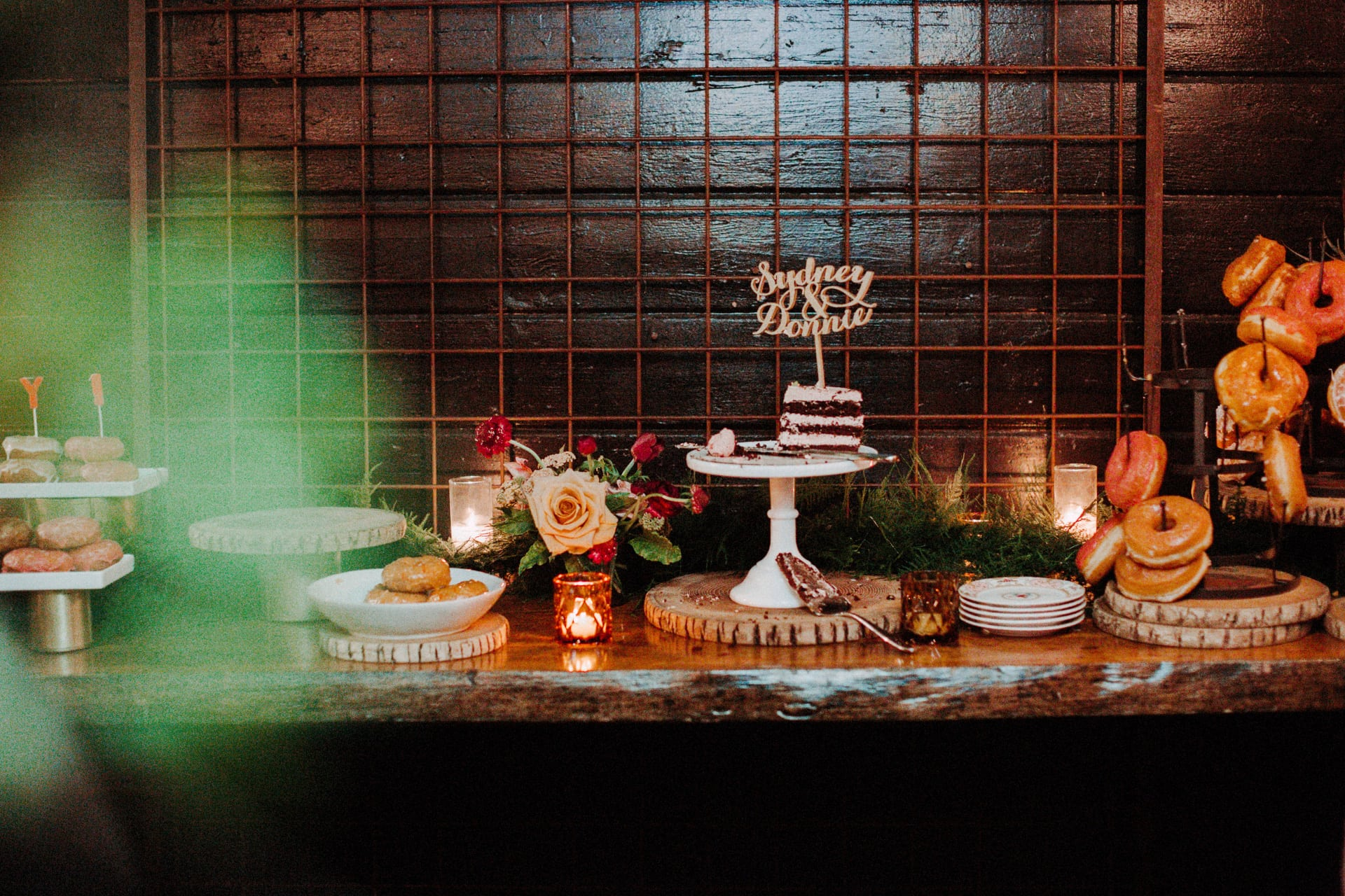 A wedding cake display at Stable Cafe