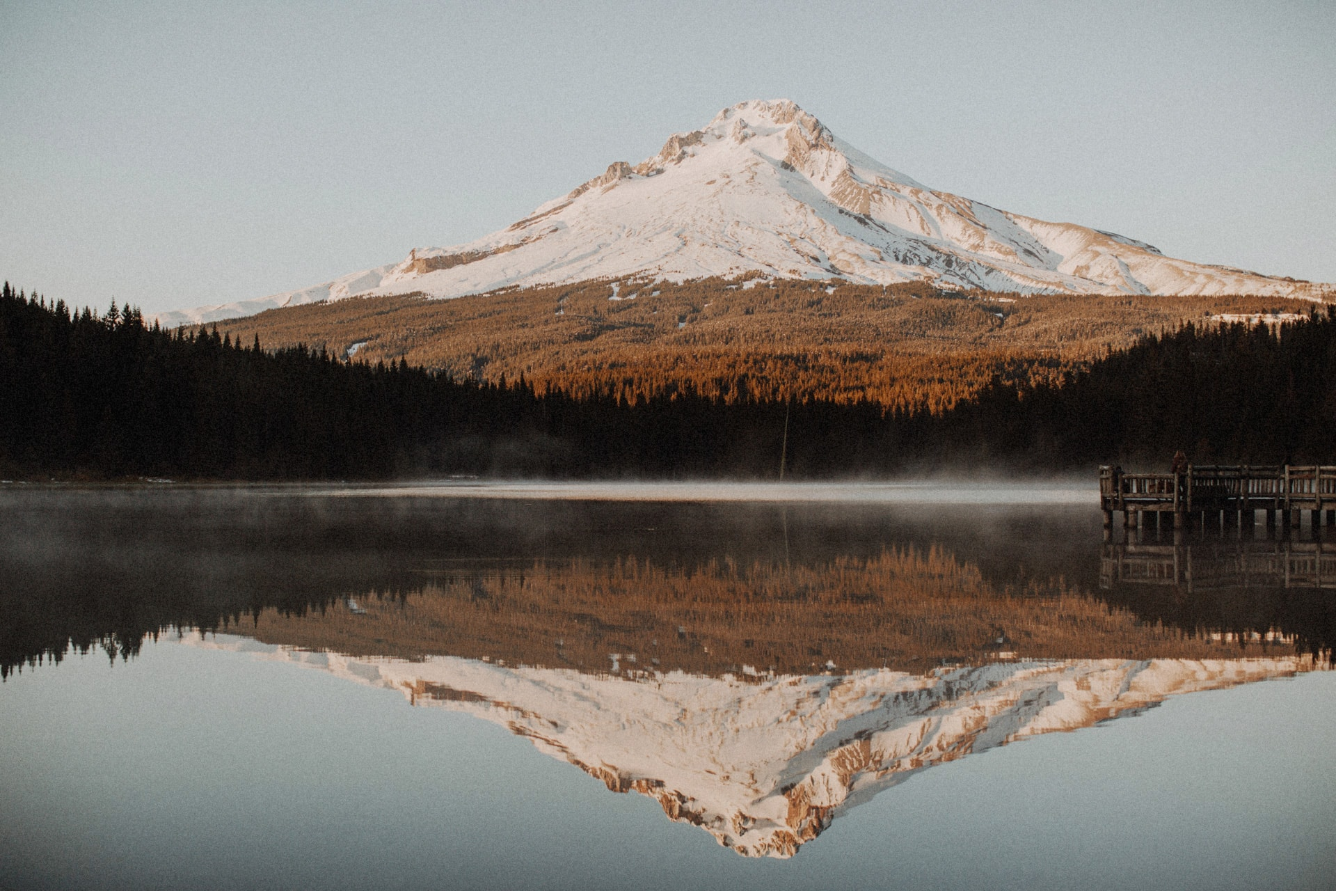 View of Mount Hood from Trillium Lake outside of Portland Oregon